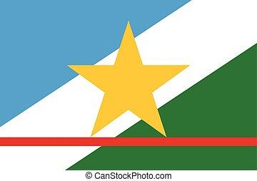 Flag of Roraima State, Brazil. Vector Format