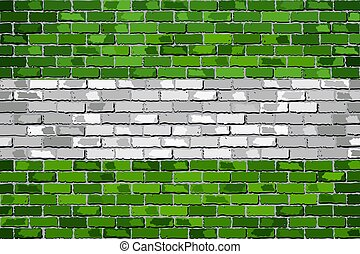Flag of Rotterdam on a brick wall