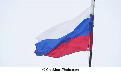 flag of Russia developing in the wind