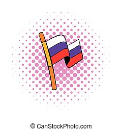 Flag of Russia icon, comics style