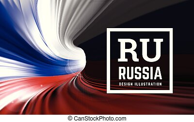 Flag of Russia in the form of a spiral pipe in the form of colors of the Russian flag. Inside view. Vector illustration