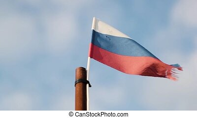 flag of Russia is flying in the wind