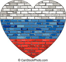 Flag of Russia on a brick wall in heart shape