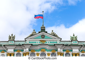Flag of Russia on a building spire