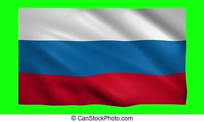 Flag of Russia on green screen for chroma key