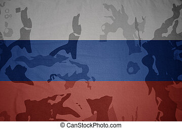 flag of russia on the khaki texture . military concept