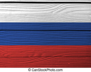 Flag of Russia on wooden wall background. Grunge Russian flag texture,  tricolor flag consisting of three equal horizontal fields: white  blue  and red.