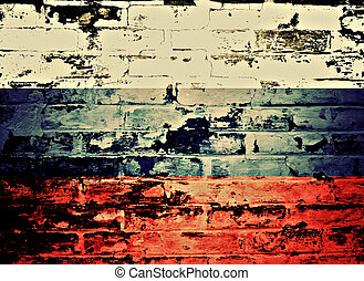 flag of Russia painted on a wall
