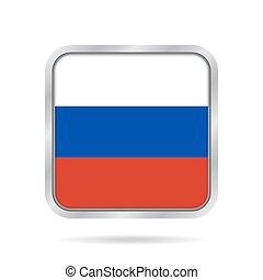 Flag of Russia. Shiny metallic gray square button.