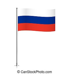 Flag of Russia waving on a metallic pole.