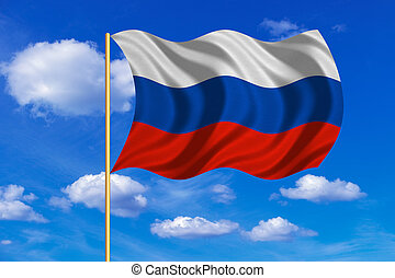 Flag of Russia waving on blue sky background