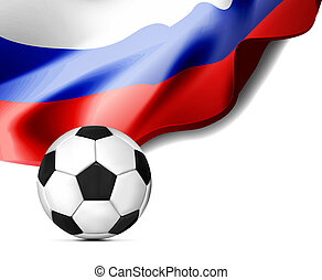 Flag of Russia with a football on the background