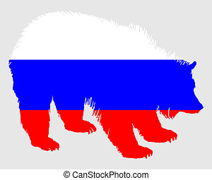 Flag of Russia with brown bear