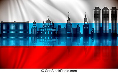 Flag of Russia with Moscow skyline