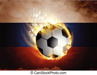 Flag of Russia with soccer ball