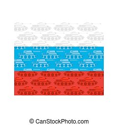 Flag of Russia with texture of  tanks. Russian military equipment