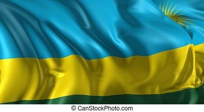 Beautiful 3d animation of The Rwanda flag in loop mode
