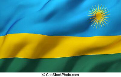 Flag of Rwanda blowing in the wind