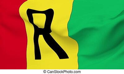Flag of the Rwanda waving in the wind. Seamless loop