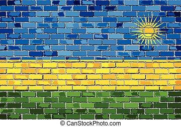 Flag of Rwanda on a brick wall