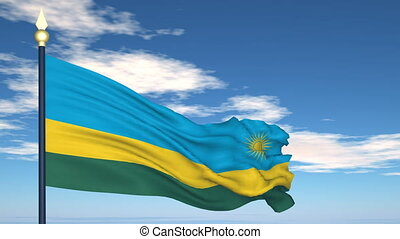Flag Of Rwanda on the background of the sky and flying clouds.