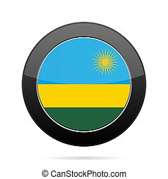 Flag of Rwanda. Shiny black round button.