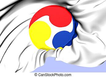 Flag of Ryukyu Islands, Japan. Close Up.