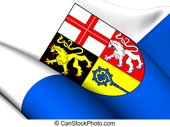 Flag of Saarpfalz-Kreis, Germany. Close Up.