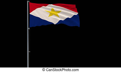 Flag of Saba on transparent background, 4k prores 4444...