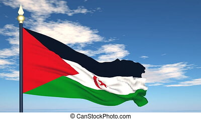Flag Of Sahara Arab Democratic Republic on the background of...