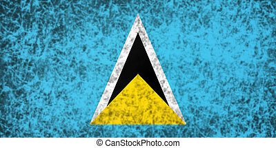 Flag of Saint Lucia. - Flag of Saint Lucia in grunge style.