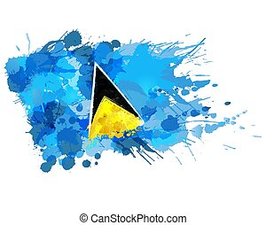Flag of Saint Lucia made of colorful splashes