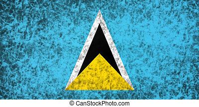 Flag of Saint Lucia. - Flag of Saint Lucia in grunge style.