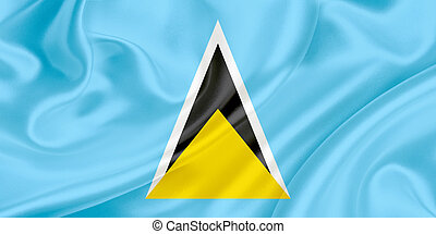 Flag of Saint Lucia waving in the wind