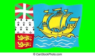 Flag of Saint Pierre and Miquelon. Waving computer animatie.