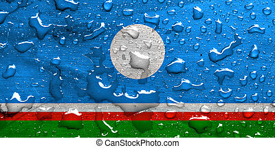 flag of Sakha with rain drops
