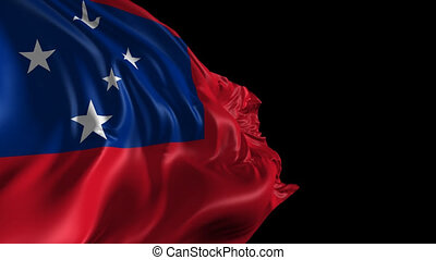 Beautiful 3d animation of Samoa flag with alpha channel