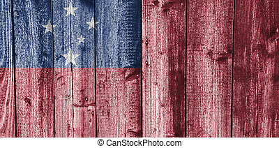 Flag of Samoa on weathered wood
