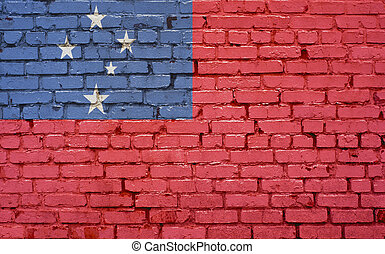 Flag of Samoa painted on brick wall, background texture