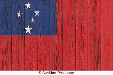 Flag of Samoa painted on wooden frame