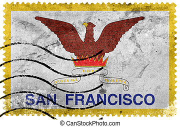 Flag of San Francisco, California, old postage stamp