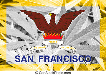 Flag of San Francisco, California, on cannabis background