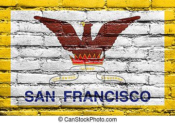 Flag of San Francisco, California, painted on brick wall