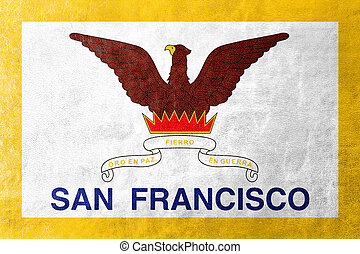 Flag of San Francisco, California, painted on leather texture