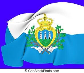 Flag of San Marino. Close Up.