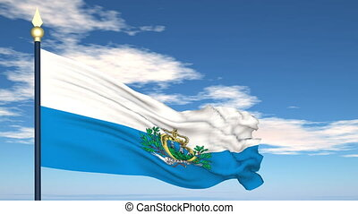 Flag Of San Marino on the background of the sky and flying...