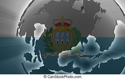Flag of San Marino, national country symbol illustration