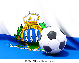 Flag of san marino with football in front of it