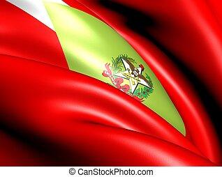 Flag of Santa Catarina, Brazil. Close Up.