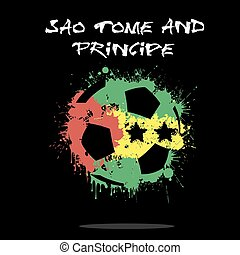 Flag of Sao Tome and Principe as an abstract soccer ball